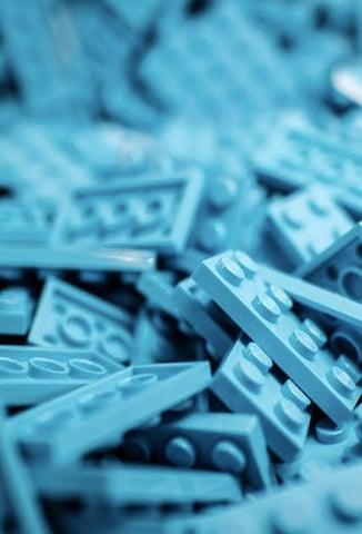 pile of blue Legos