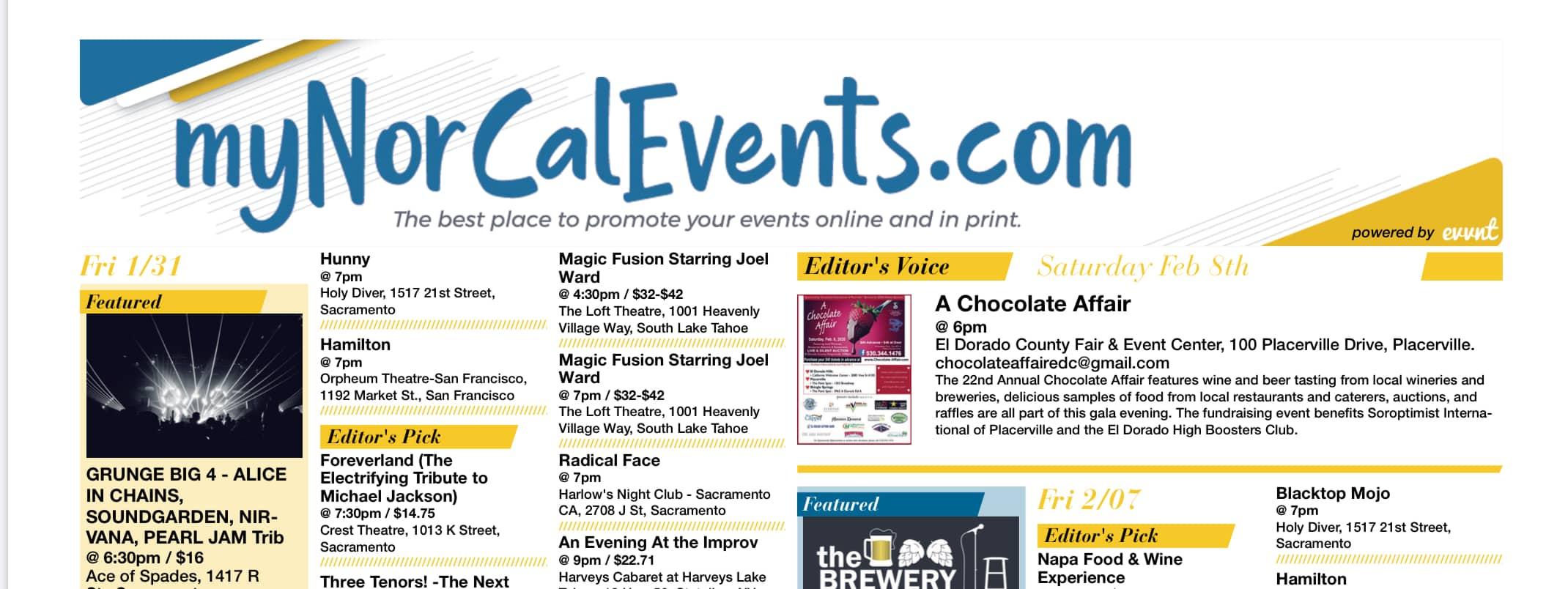 myNorCalEvents.com screenshot